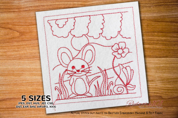 Cute-Mouse-Cartoon Lineart Farm Animals Embroidery Design By Redwork101