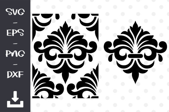 Damask for Wall Stencil Vector Graphic Objects By wanchana365