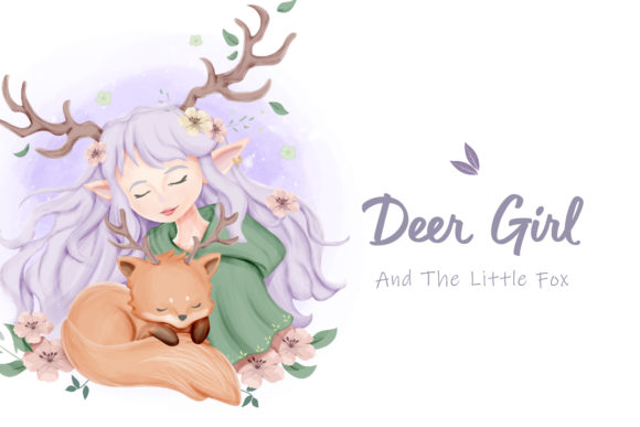 Deer Girl and the Little Fox Graphic Illustrations By alolieli
