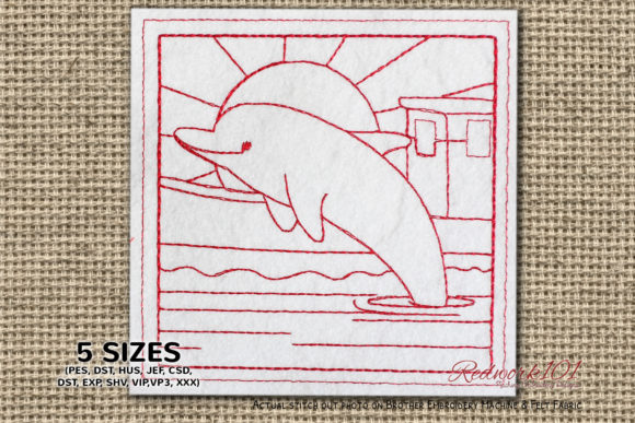 Dolphin Jumping in the Sea at the Sunset Marine Mammals Embroidery Design By Redwork101
