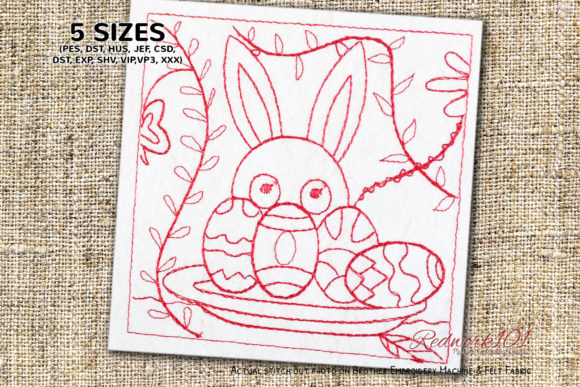 Easter Bunny with Decorated Eggs Redwork Easter Embroidery Design By Redwork101