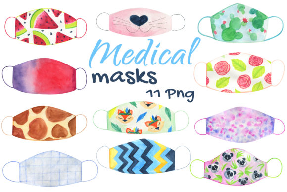 Face Medical Masks Watercolor Graphic Objects By artpanda2018