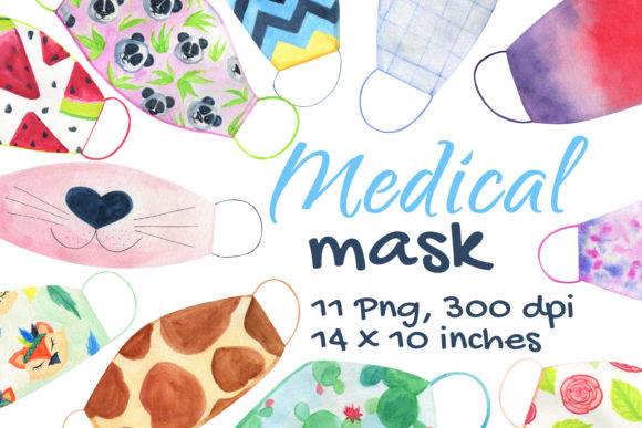 Face Medical Masks Watercolor Graphic Download