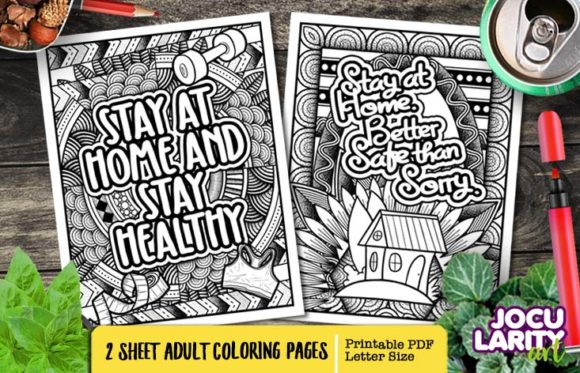 Print on Demand: Funny Stay Healthy Adult Coloring Pages Graphic Coloring Pages & Books Adults By JocularityArt