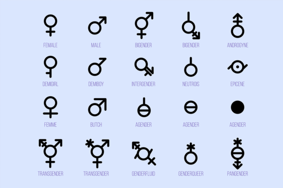 Print on Demand: Gender Diversity Monochrome Icons Set Graphic Icons By barsrsind
