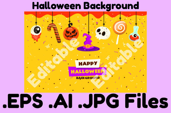 Halloween Background Editable Graphic Illustrations By KDP_Interior_101