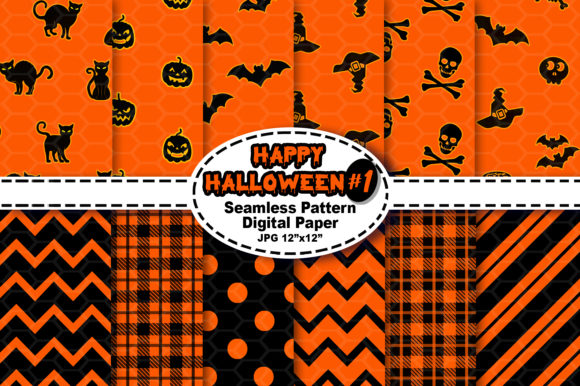 Print on Demand: Halloween Seamless Digital Pattern #1 Graphic Patterns By V-Design Creator