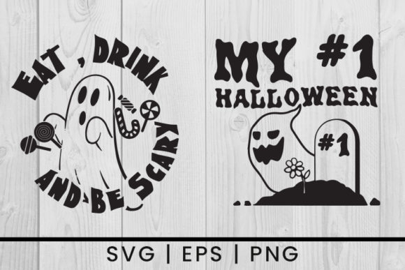 Print on Demand: Halloween Spooky Ghost Silhouette Graphic Crafts By damasyp