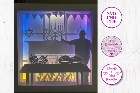 Hanukkah - 3D Shadow Box Template Graphic 3D Shadow Box By Jumbleink Digital Downloads