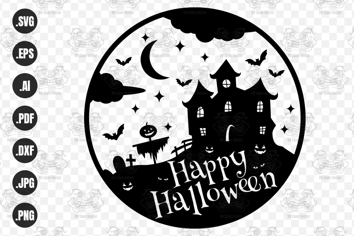 Happy Halloween Haunted House Graphic By 99 Siam Vector Creative Fabrica