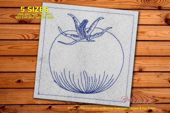 Juicy Tomato Redwork Design Food & Dining Embroidery Design By Redwork101