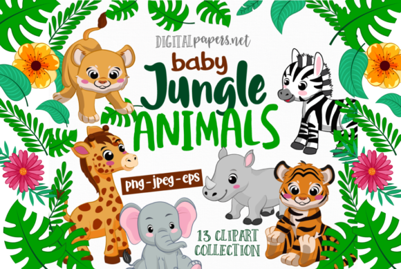 Print on Demand: Jungle Babies Clipart Graphic Illustrations By DigitalPapers
