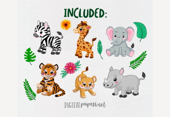 Jungle Babies Clipart Graphic Download
