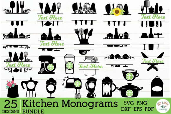 Kitchen Monogram Frames Bundle Graphic Crafts By redearth and gumtrees