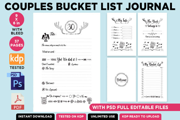 Print on Demand: KDP Couples Bucket List Journal Interior Graphic KDP Interiors By Queen Dreams Store