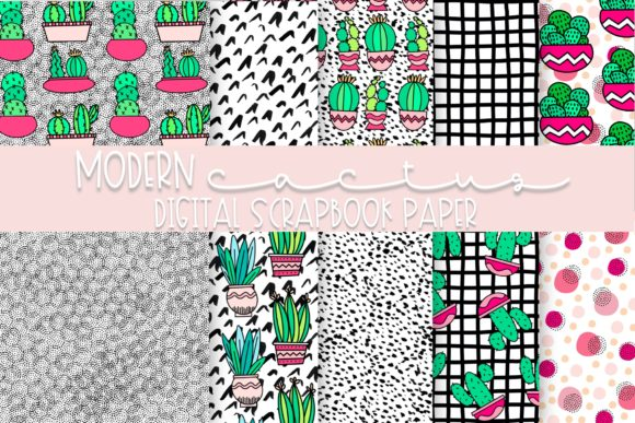 Print on Demand: Modern Cactus Digital Paper Graphic Illustrations By Fairways and Chalkboards