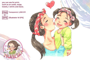 Print on Demand: Mom Kissed Her Daughter's Cheeks Graphic Illustrations By huapika