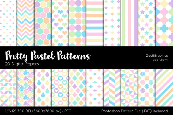 Pretty Pastel Digital Papers Graphic Patterns By ZoollGraphics