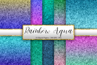 Print on Demand: Rainbow Aqua Background Digital Papers Graphic Backgrounds By PinkPearly