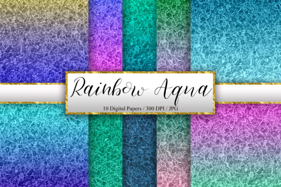 Rainbow Aqua Background Digital Papers Graphic Backgrounds By PinkPearly