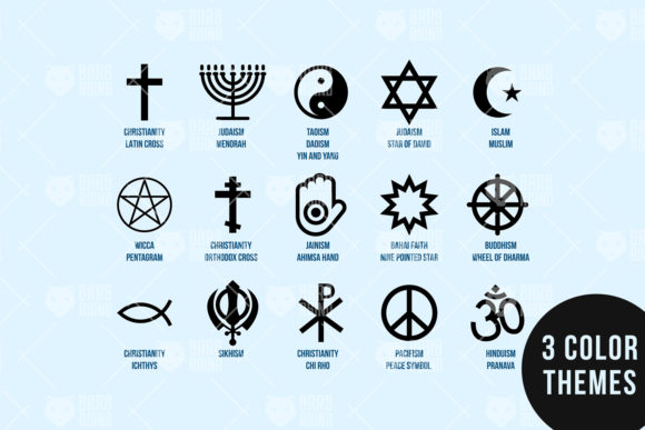 Print on Demand: Religion Diversity Set Graphic Icons By barsrsind