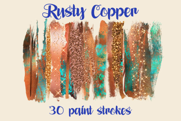 Rusty Copper Brush Strokes Graphic Illustrations By Tara Artisan