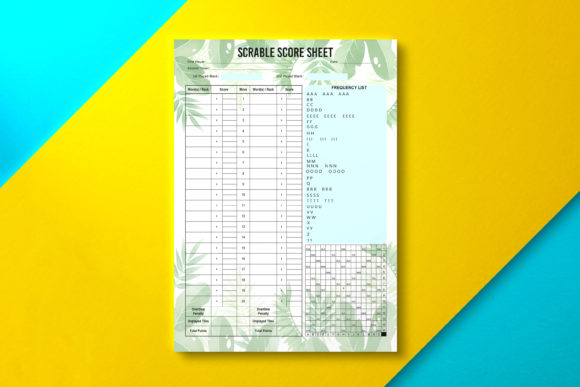 Scrabble Score Sheet Paper Tropical Graphic KDP Interiors By Nickkey Nick