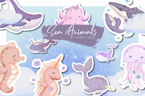 Sea Animal Collection Set Graphic Illustrations By alolieli