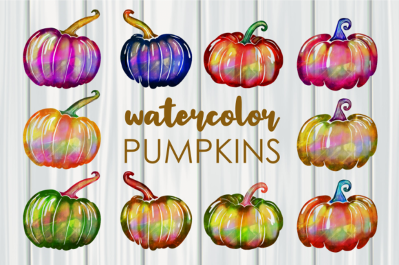 Print on Demand: Seasonal Watercolor Autumn Pumpkins Graphic Illustrations By Prawny