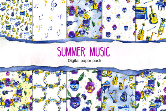 Summer Music Digital Paper Pack Graphic Backgrounds By NataliMyaStore
