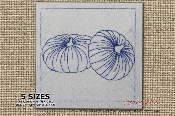 Two Big Size of Pumpkins Redwork Food & Dining Embroidery Design By Redwork101