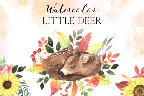 Watercolor Baby Deer and Florals Clipart Graphic Illustrations By Larysa Zabrotskaya