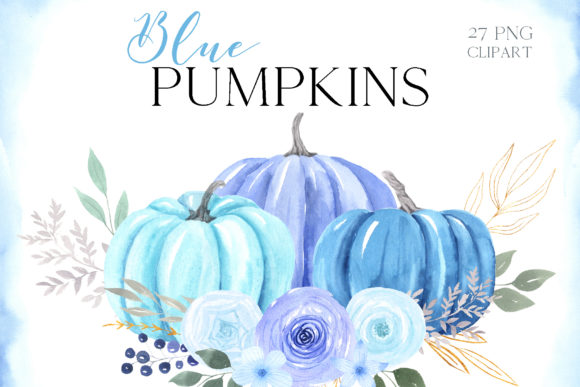 Watercolor Blue Pumpkin Clipart Graphic Illustrations By Larysa Zabrotskaya