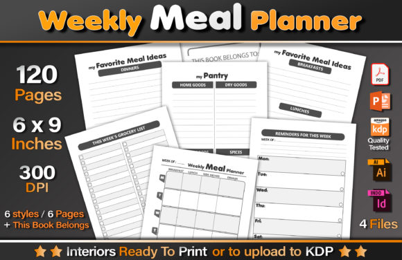 Weekly Meal Planner Graphic KDP Interiors By okdecoconcept