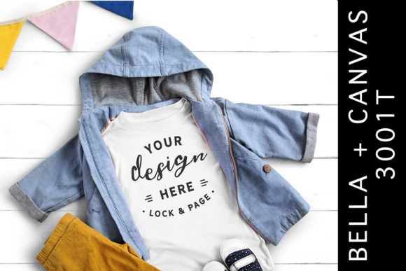 White Bella Canvas 3001T Kids Mockup Tee Graphic Product Mockups By lockandpage