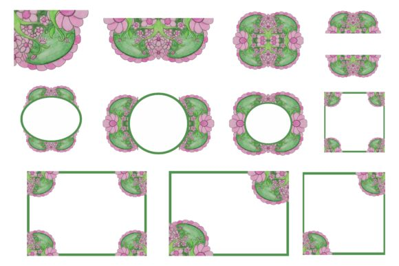 Print on Demand: Flower Ornament Border with Watercolour Graphic Crafts By Arief Sapta Adjie