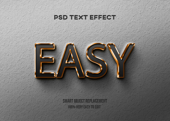 Text Effect - Gold Black Glossy Style Graphic Graphic Templates By Wudel Mbois