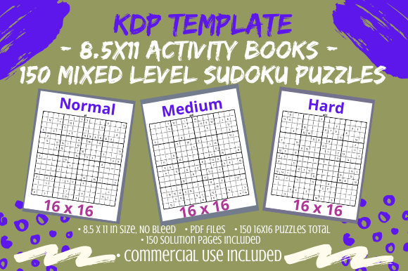 Print on Demand: 150 Mixed Level Sudoku 16×16 Puzzles Graphic KDP Interiors By Tomboy Designs