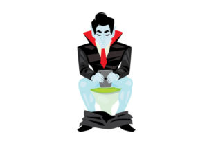 Vampire Sitting on a Toilet Halloween Craft Cut File By Creative Fabrica Crafts