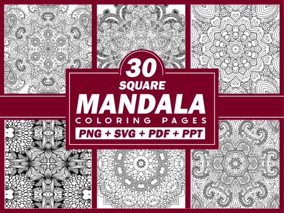 Print on Demand: 30 Square Mandala Coloring Pages (+ SVG) Graphic Coloring Pages & Books By Fayne