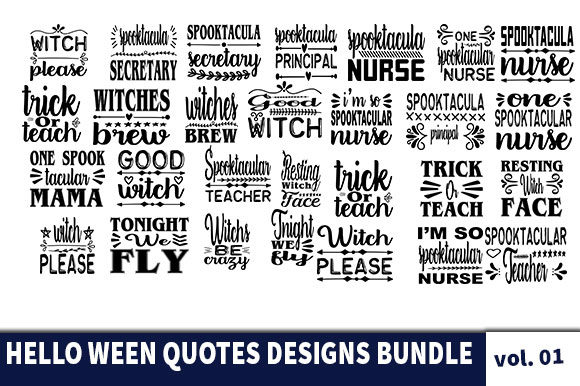 Print on Demand: 31 Hello Ween Quotes Designs Bundle Graphic Print Templates By Star_Graphics