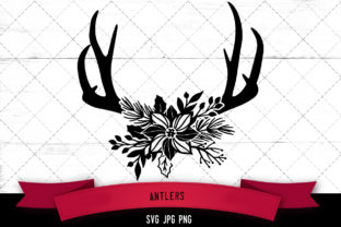 Antlers Floral Graphic Crafts By thesilhouettequeenshop