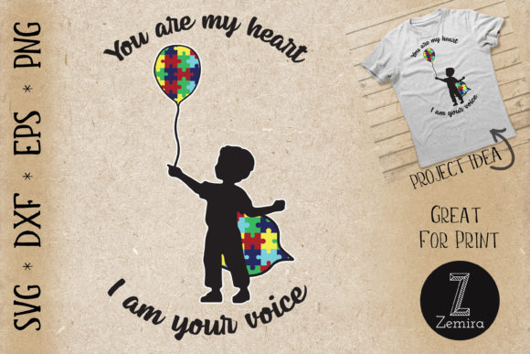 Print on Demand: Autism You Are My Heart I Am Your Voice Graphic Print Templates By Zemira