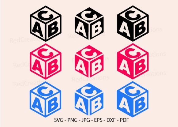 Baby Block Alphabet Cube Silhouette Graphic Crafts By RedCreations