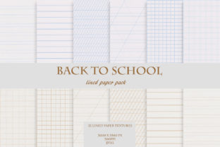 Back to School Lined & Grid Paper Set Graphic Textures By liquid amethyst art