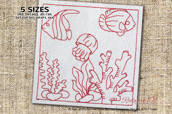 Beautiful Fish Tank Redwork Fish & Shells Embroidery Design By Redwork101