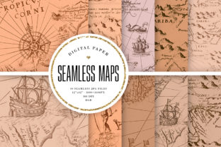 Print on Demand: Beige Vintage Maps Seamless Patterns Graphic Backgrounds By Sabina Leja