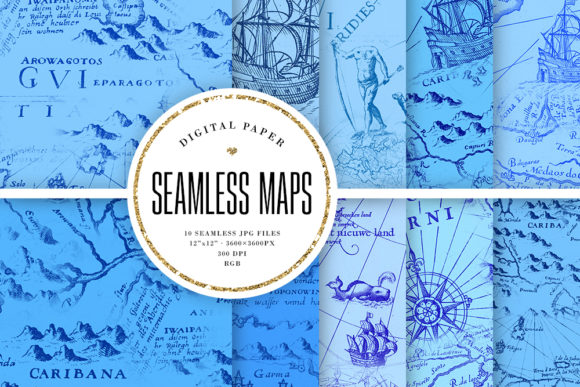 Print on Demand: Blue Old Maps Seamless Digital Paper Graphic Backgrounds By Sabina Leja