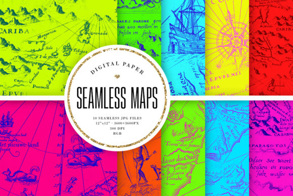 Print on Demand: Bright Vintage Maps Seamless Patterns Graphic Backgrounds By Sabina Leja
