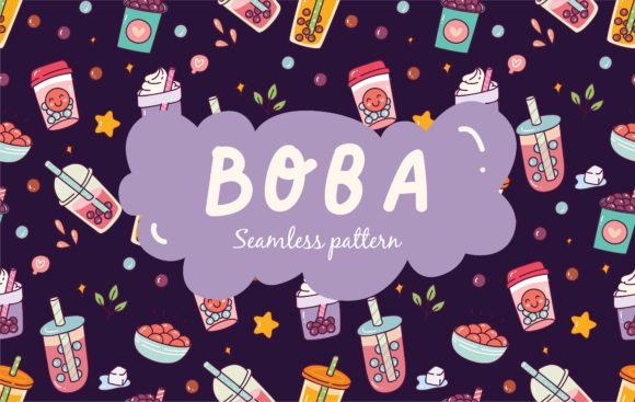 Bubble Tea Seamless Pattern Vector Graphic Illustrations By Big Barn Doodles
